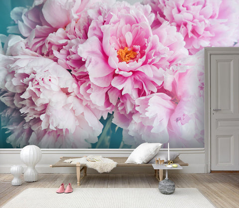 3D Hand-painted, Peony Wallpaper