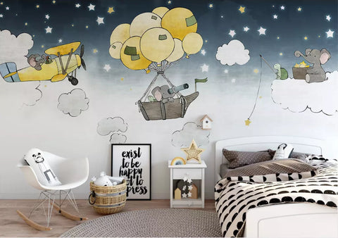 3D Kids, Hot air balloon, Elephant Wallpaper-Nursery