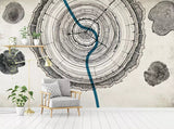 3D Abstract clock, Ring, Wood grain Wallpaper