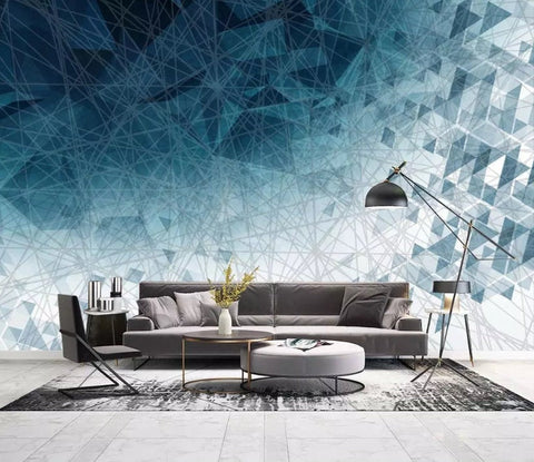 3D Abstract, Blue, Geometric line Wallpaper