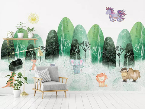 3D Kids,Cartoon,Watercolor, Forest Wallpaper-Nursery