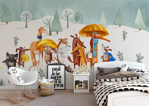 3D Kids, The cartoon dog Wallpaper-Nursery