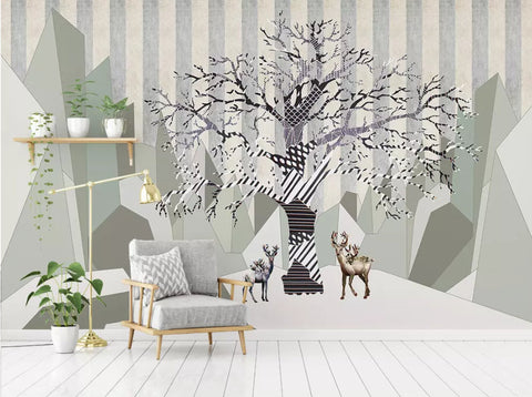 3D Abstract, Vintage, Abstract tree, Elk Wallpaper