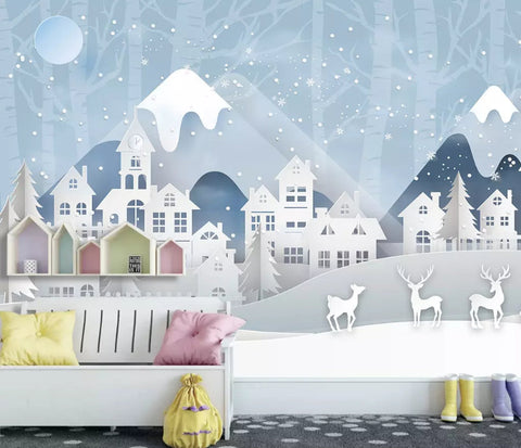 3D Kids, Deer in the snow Wallpaper-Nursery
