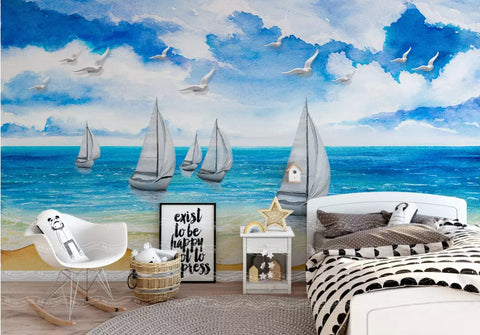 3D Kids, Summer, Blue sky, Beach Wallpaper-Nursery