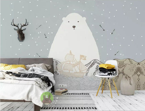 3D Kids, Cartoon white bear Wallpaper-Nursery