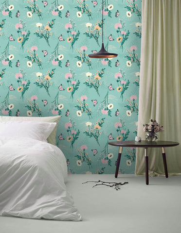 3D Green-tones, Fresh, Floral element Wallpaper
