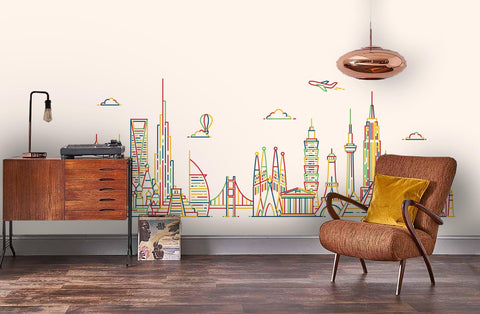 3D Colorful line, Famous building Wallpaper