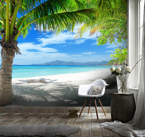3D Tropical, Seaside, Coconut tree Wallpaper