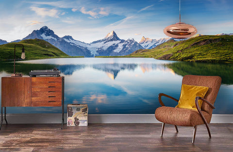 3D Calm lake, Mountain scenery Wallpaper