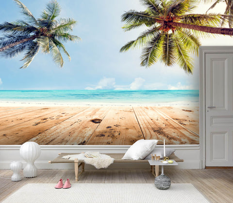 3D Beach, Coconut tree Wallpaper