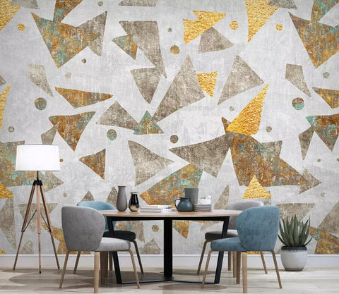 3D Abstract triangle, Gold foil Wallpaper