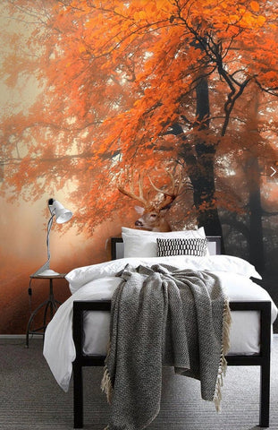 3D Warm, Autumn, Red leaf Wallpaper