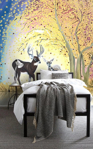 3D Hand-painted, Colorful forest, Elk Wallpaper