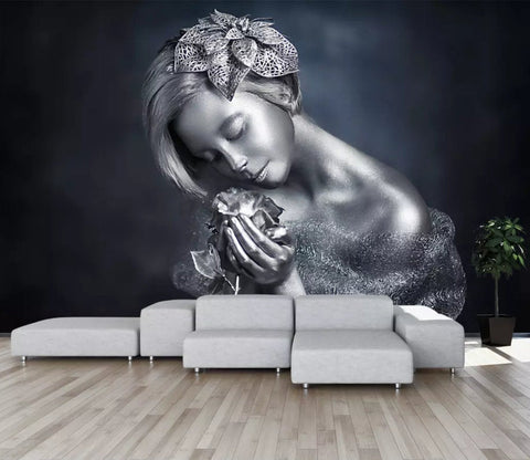 3D Metal texture, Women sculpture Wallpaper