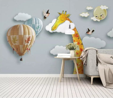 3D Kids, Cartoons, Cloud, Giraffe Wallpaper-Nursery