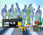 3D Kids, Zebra herds, Tropical plant Wallpaper-Nursery