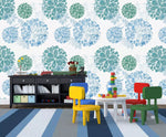 3D Kids, Cartoon, Blue hydrangea Wallpaper-Nursery