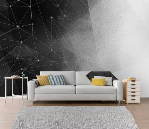 3D Abstract star, Black and white,  Geometric line Wallpaper