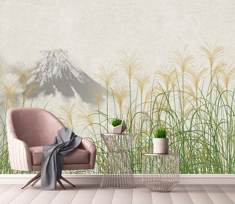 3D Simple, Reed, Mount Fuji Wallpaper