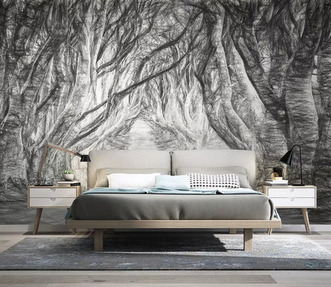 3D Hand painted, Mysterious, Silent, Forest Wallpaper