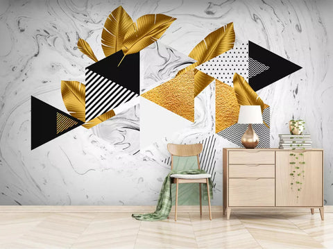 3D Abstract, Feometric figure, Gold foil material Wallpaper
