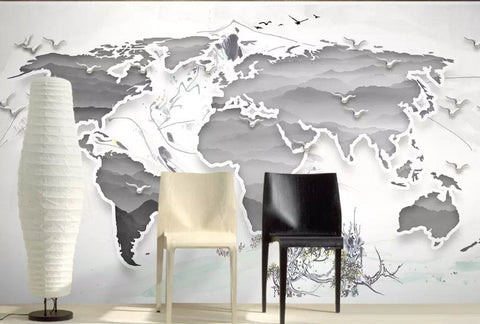 3D Simple, Metallic, World map Wallpaper