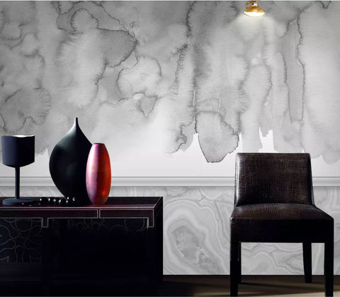 3D Chinese style, Grey-tones, watercolor smudge Wallpaper