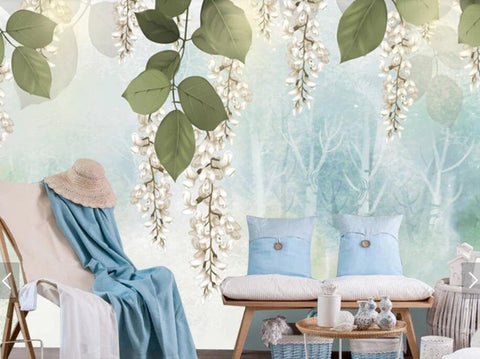 3D Spring scenery, Watercolor, Willow leaf Wallpaper