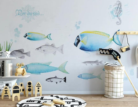 3D Kids, Cartoon, Shoal of fish Wallpaper-Nursery