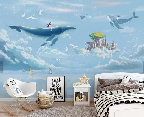 3D Kids, Dreamy, Sky, Whale Wallpaper-Nursery