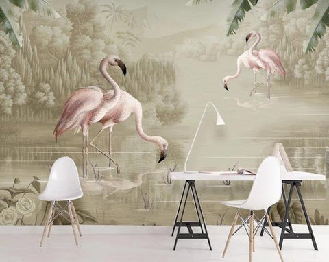 3D Modern, Hand-painted, Watercolor, Plant, Flamingo Wallpaper