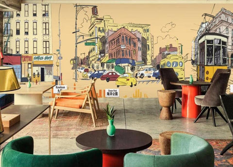 3D Hand-painted, Urban road Wallpaper