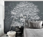 3D Modern, Grey-tones, Simple, tree Wallpaper