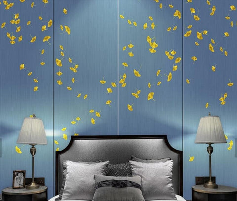 3D Blue background, Falling, Ginkgo leaf Wallpaper