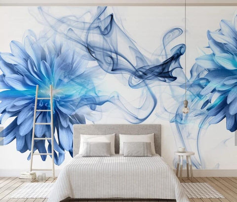 3D Blue-tones, Abstract, Watercolor, Flower Wallpaper
