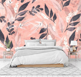 3D Hand-painted, Pink background, Branch, Leaf Wallpaper