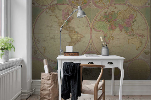 3D Vintage, Worn-out, Detailed, World map Wallpaper