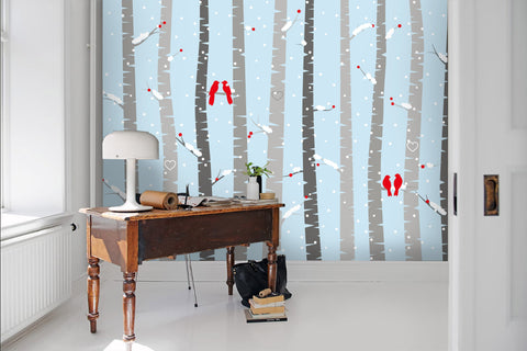 3D Cartoon, Birch forest in snow Wallpaper