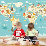3D Kids, Cartoon animals, World map Wallpaper-Nursery