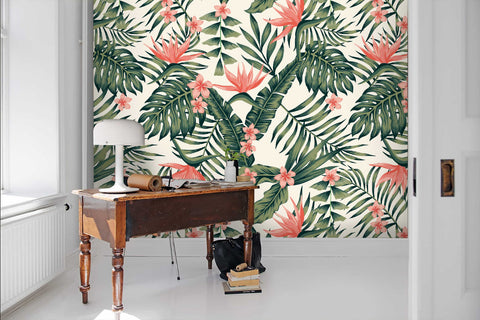 3D Hand-painted, Tropical, Plant Wallpaper