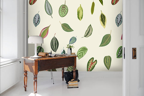 3D Hand-painted, Green leaf Wallpaper