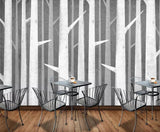 3D Cartoon, Birch forest Wallpaper