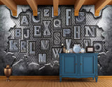 3D Iron texture, Letter Wallpaper