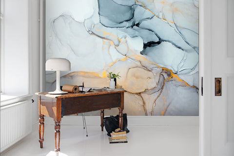 3D Watercolor, Cold-tones, Gold foil Wallpaper