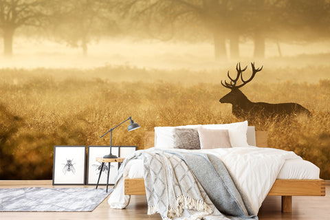 3D Painting, Yellow-tones, Elk, Field Wallpaper