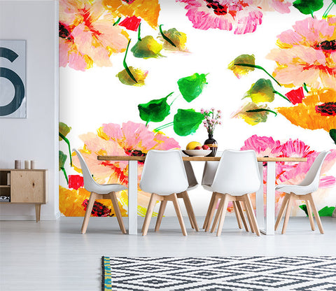3D Watercolors, Bright flower Wallpaper