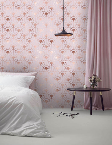 3D Dreamy, Gold foil, Pink pattern Wallpaper