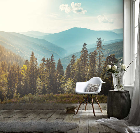 3D Pine tree, Mountain, Scenery Wallpaper