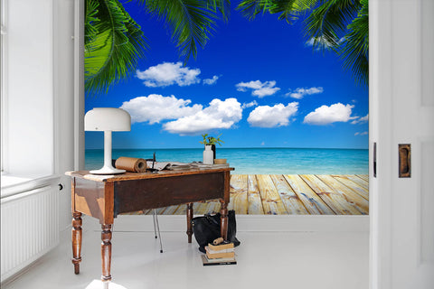 3D Tropical scenery, Seaside, Coconut tree Wallpaper